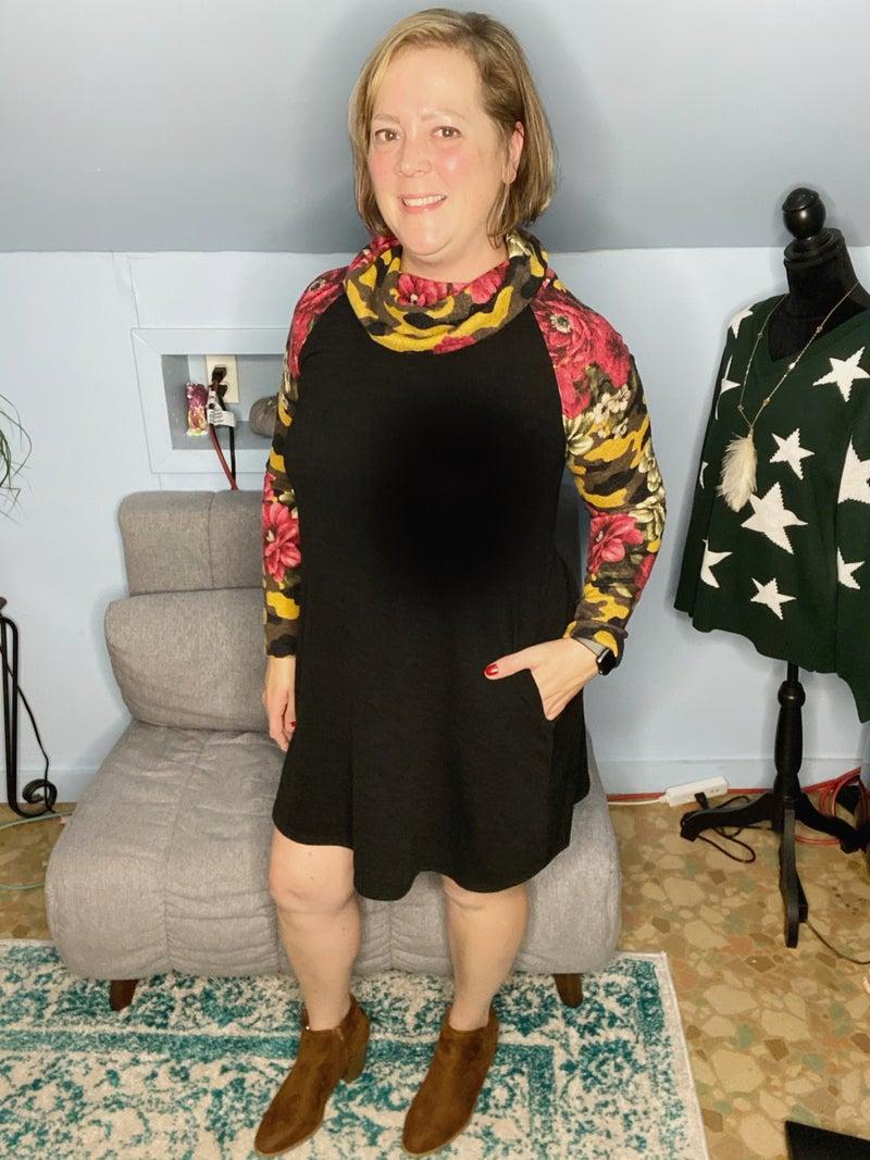 Autumn Cowl Neck Tunic Dress