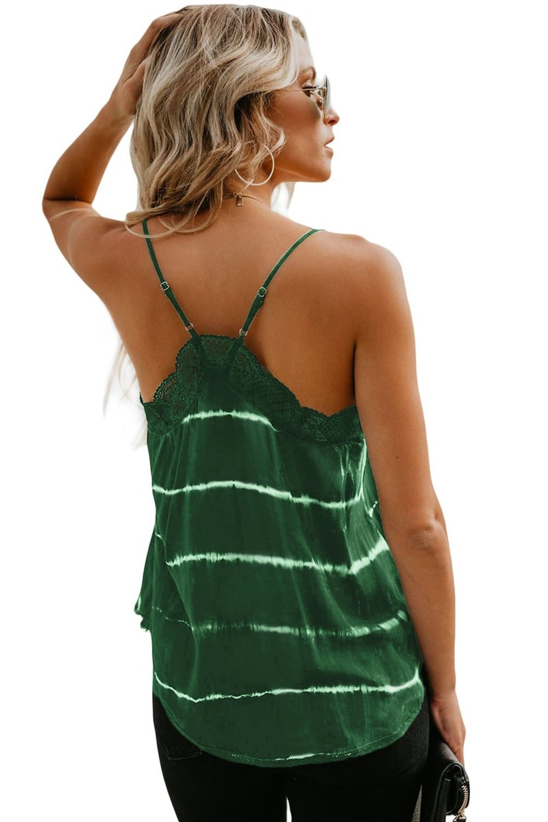 To Dye For - Lace Trim Tank - Green