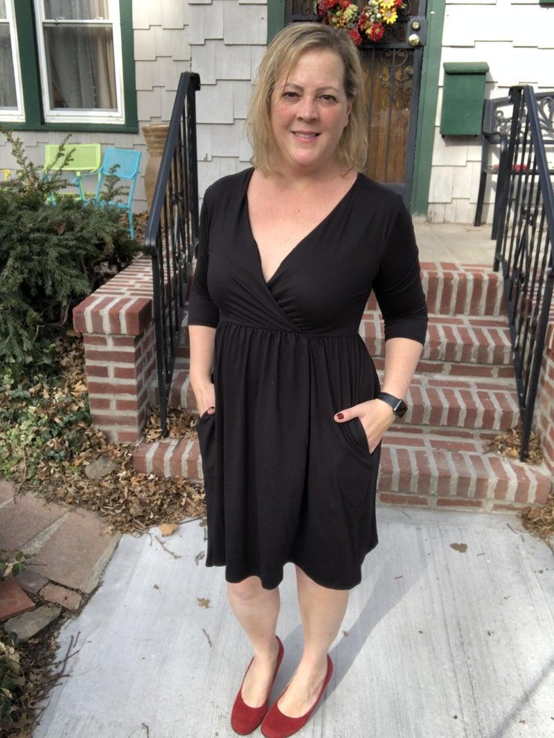 Baby Suede Surplice Dress Black
