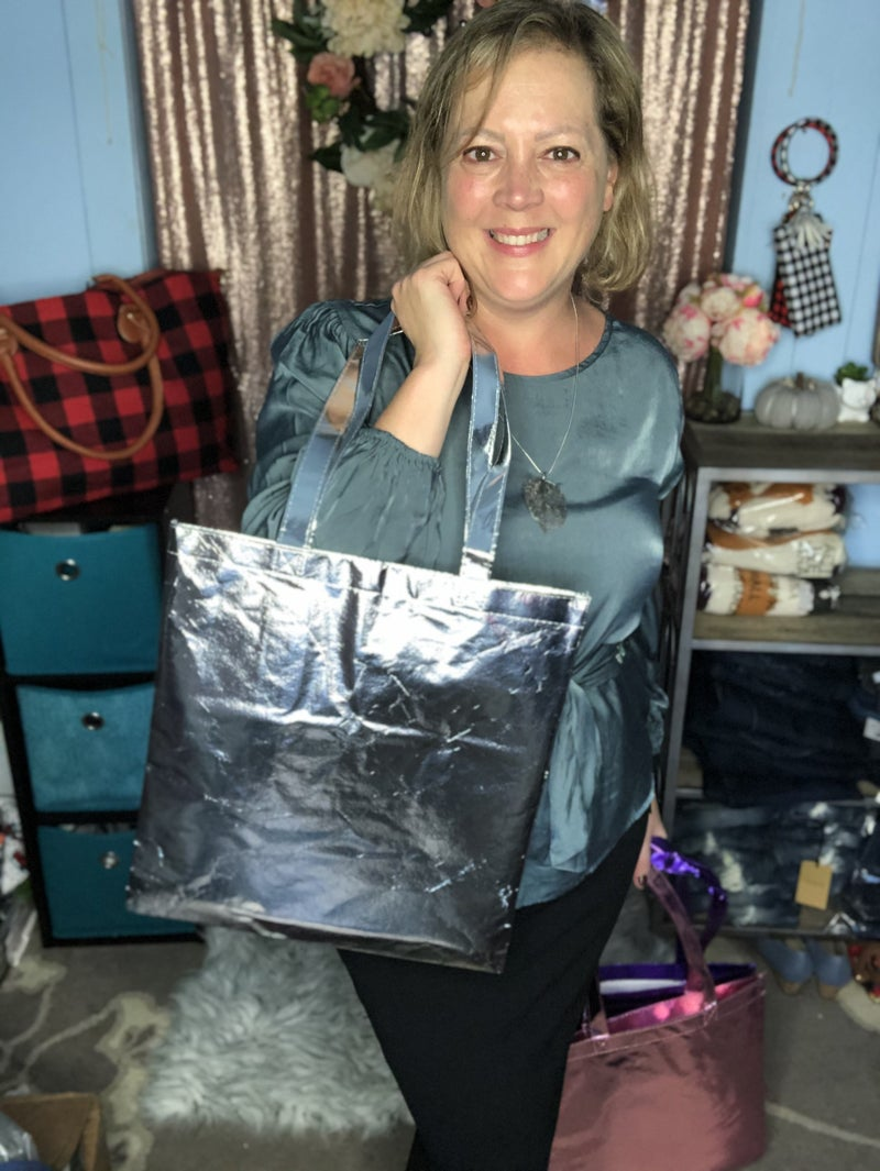 Metallic Reusable Tote Bag Silver