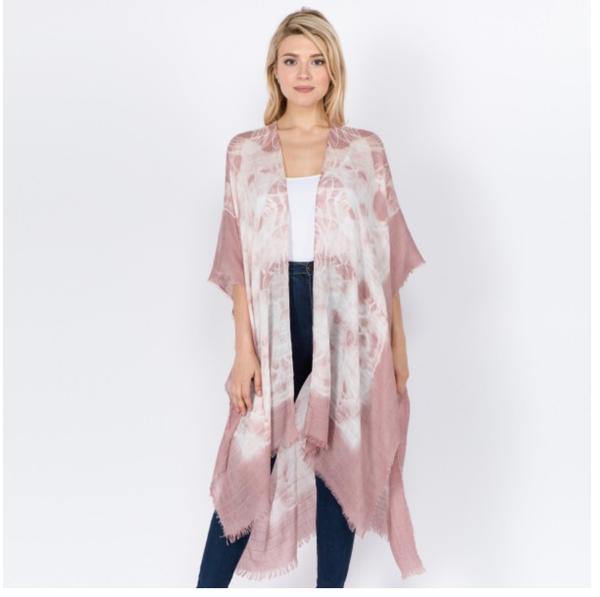 Tie Dye Fray Kimono Pink