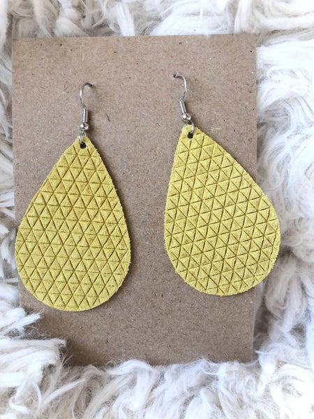 Yellow Embossed Leather Earrings