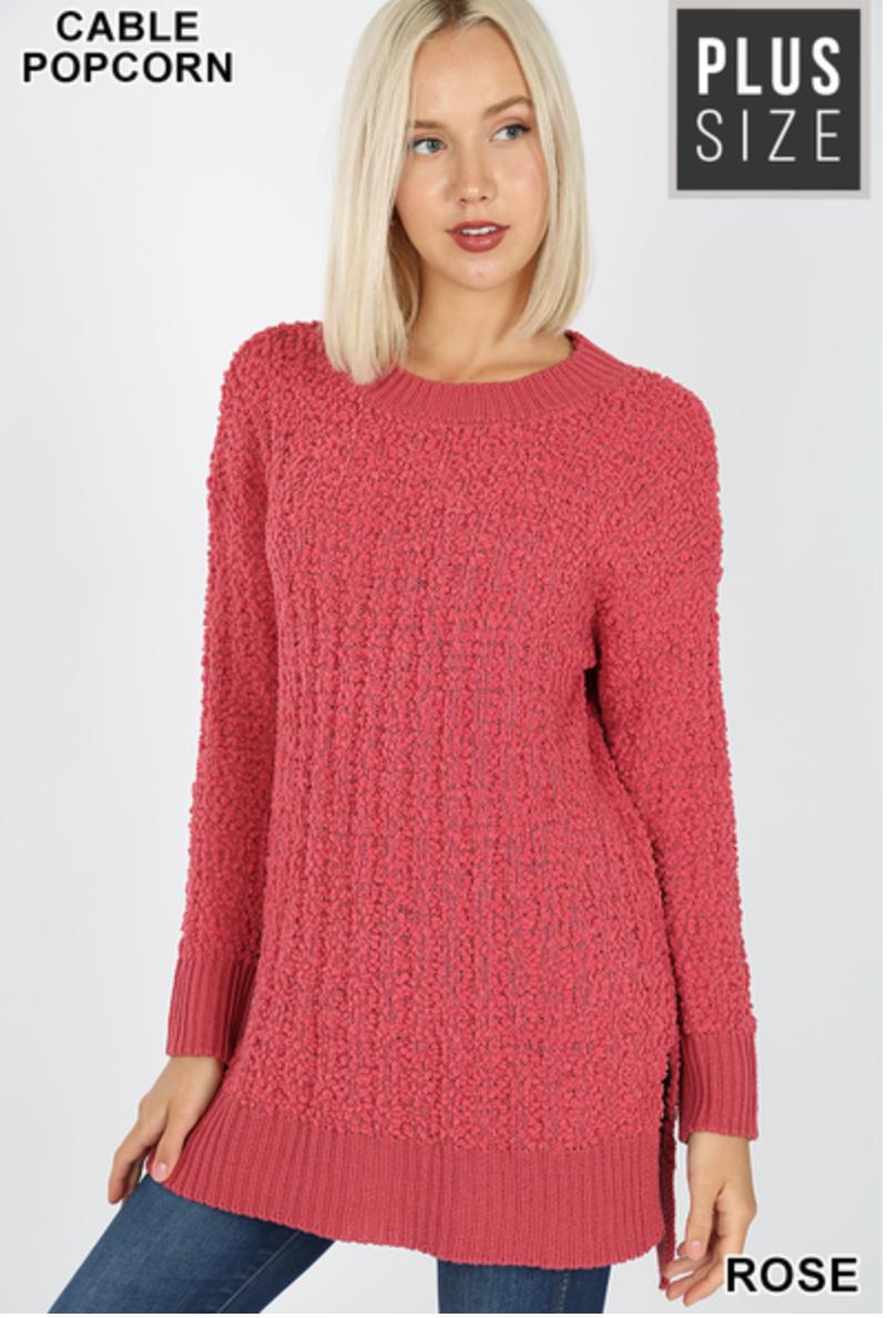 Getting Cozy Popcorn Sweater Hilo Hem Rose
