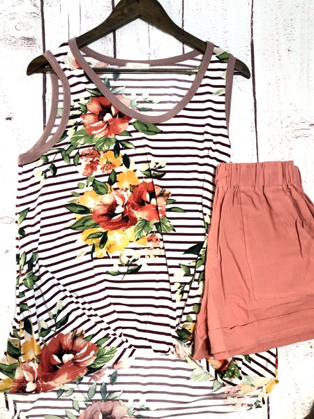 Floral Stripe Twist Tank