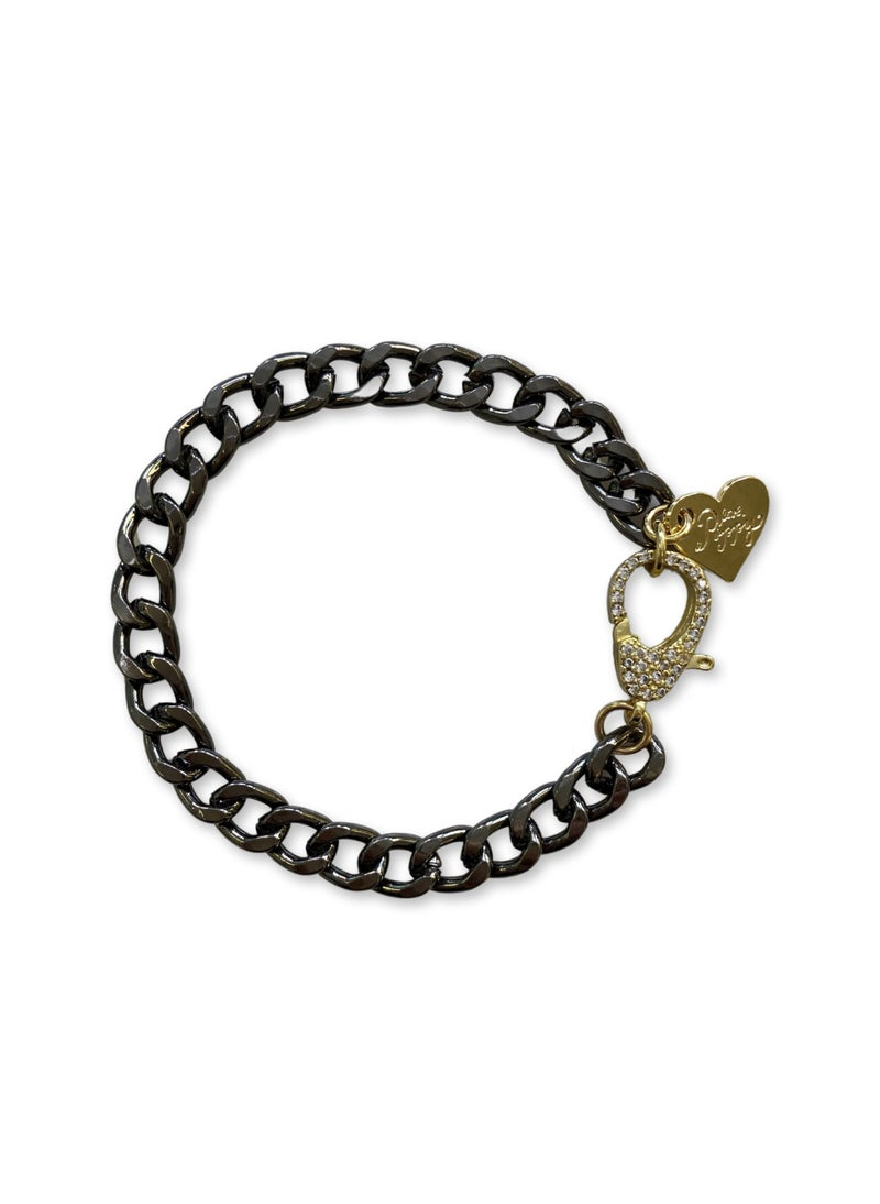 Love, Poppy Linked CZ Bracelet - Gunmetal