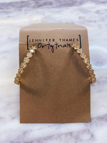 Jennifer Thames - CRINKLE CUT DIAMOND HOOPS