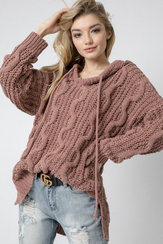 Run Up the Cable Pullover Sweater - Mauve