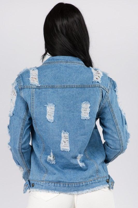 Don't Stress Distressed Denim Jacket