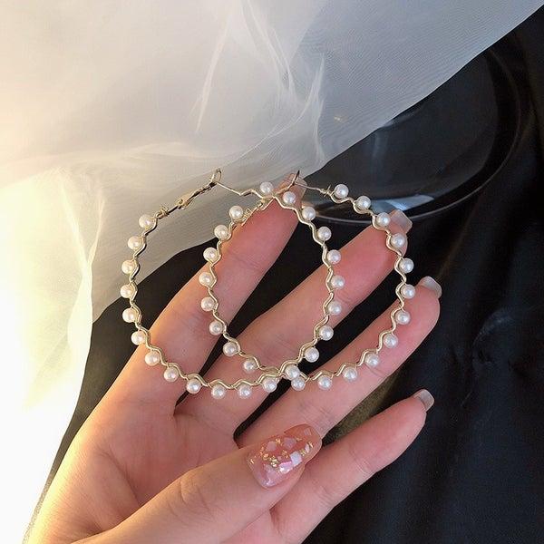 All About Pearls Hoop Earrings