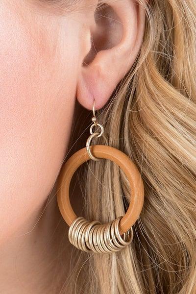 Hoop Me Happy Earrings - Camel
