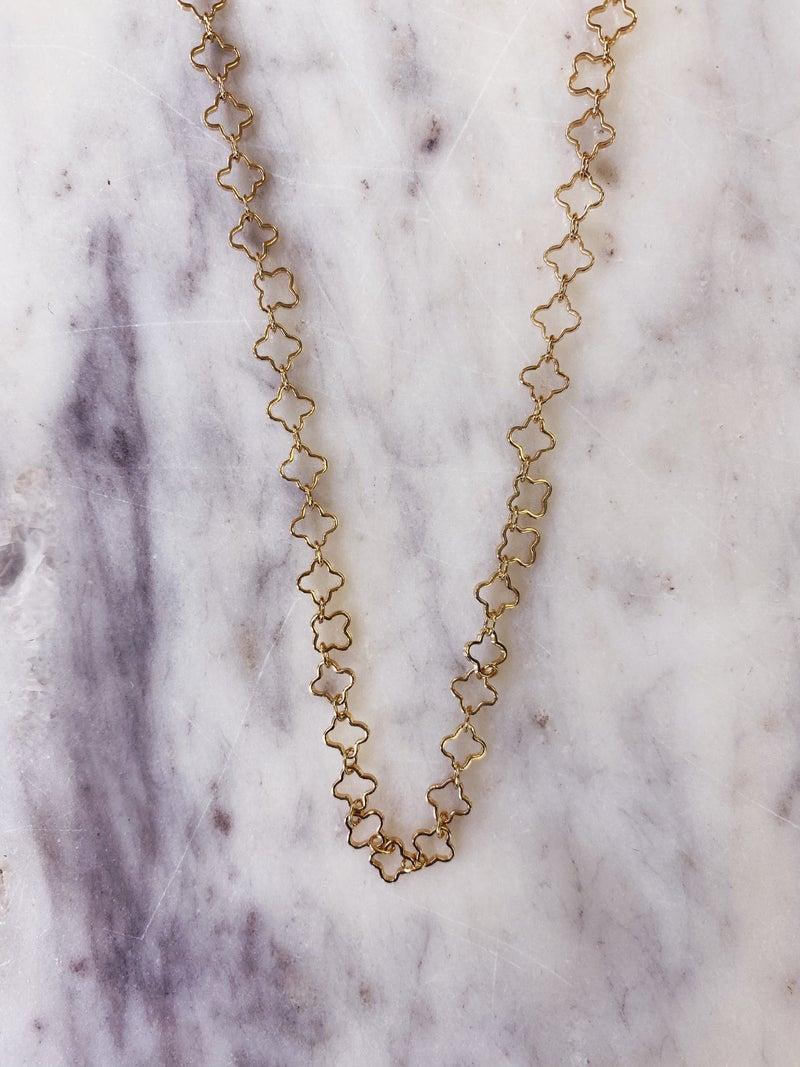 Love, Poppy Quatrefoil Necklace