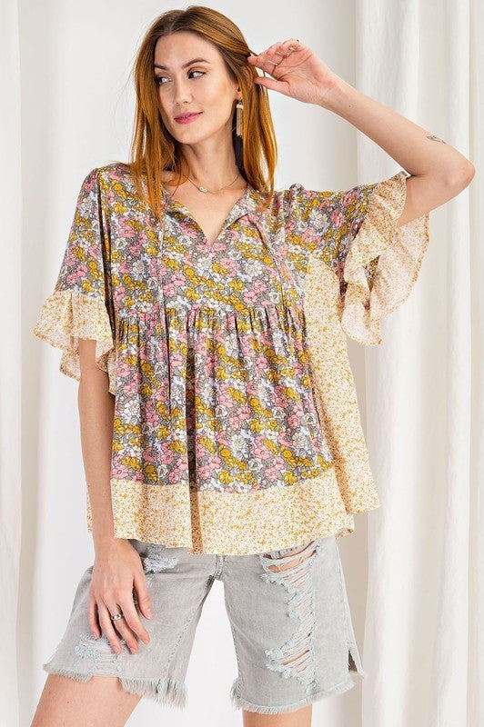 Perfect for the Weekend Floral Top -  Ginger Rose