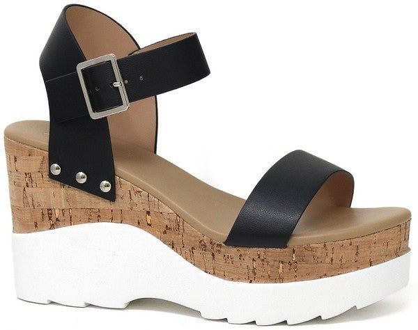 In The Moment Cork Wedge Sandals - Black