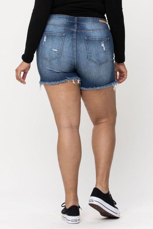 Stay True Distressed Bermuda Shorts-Dark