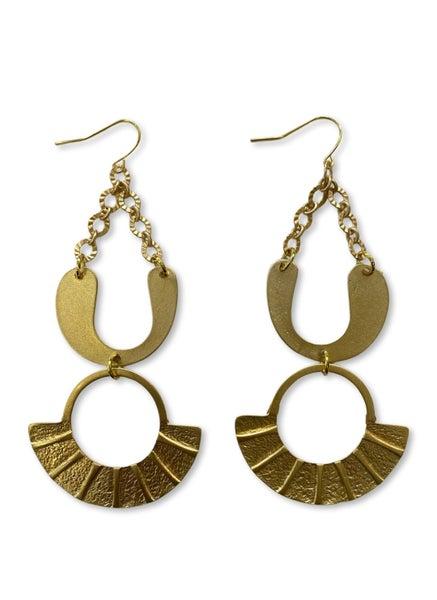Jennifer Thames Gold Fan Earrings