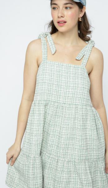 Gingham Tweed Dress - Jade
