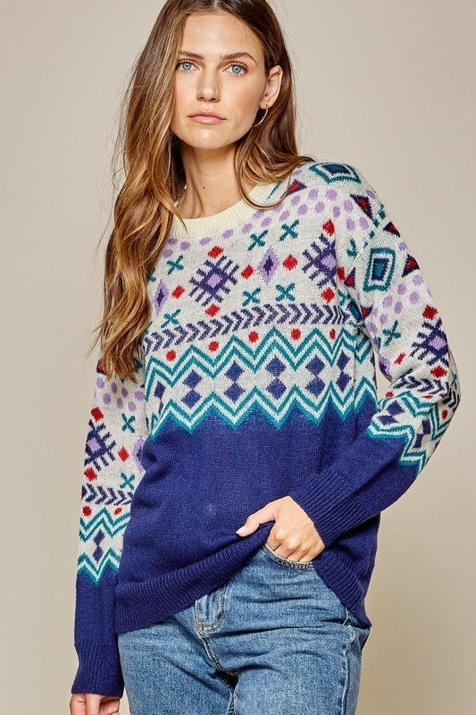 Falling For Aztec Sweater