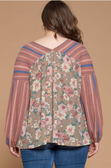 Reg/Plus Simply Sunshine Floral Boho Top