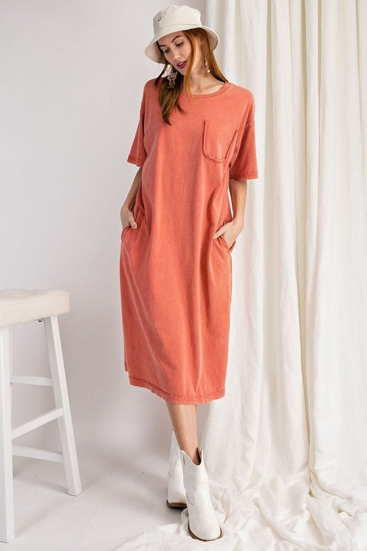 PLUS/REG You're Unbelievable Midi Dress - Coral