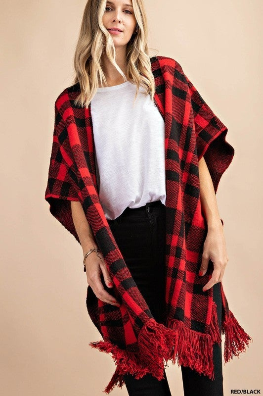 Plus/Reg Out Of The Woods Pancho - Red & Black