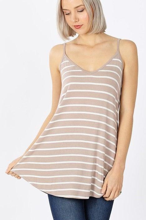 Reg/Plus Simply Striped Reversible Cami - Ash Mocha/Ivory