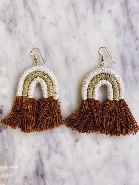 Love, Poppy Rainbow Yarn Earrings - Olive