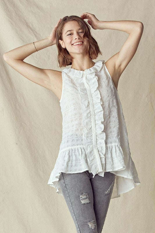 Another Time Ruffle Top-White