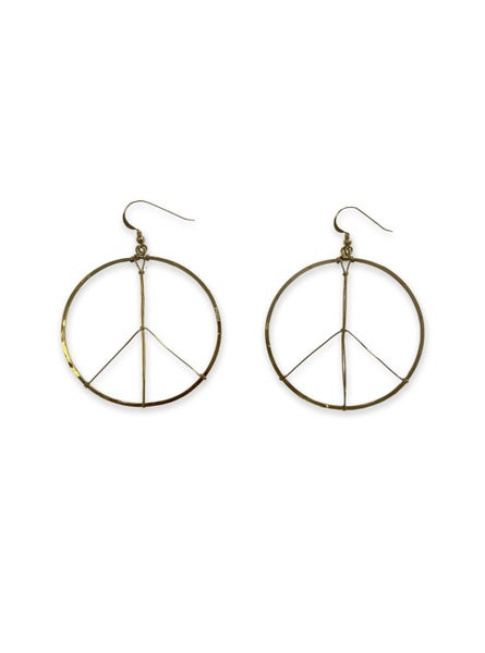 Love, Poppy Round Peace Sign Hoops - Gold