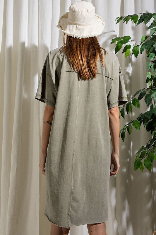 Follow Me There Dress - Faded Olive