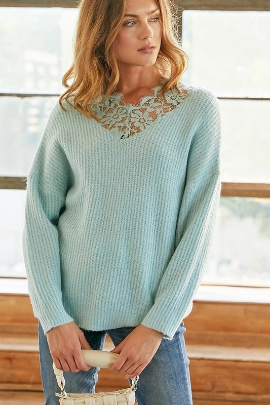 Reg/Plus Lovely In Lace Sweater Top
