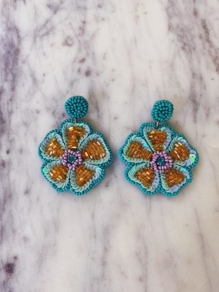 Can't Wait Earrings-Aqua