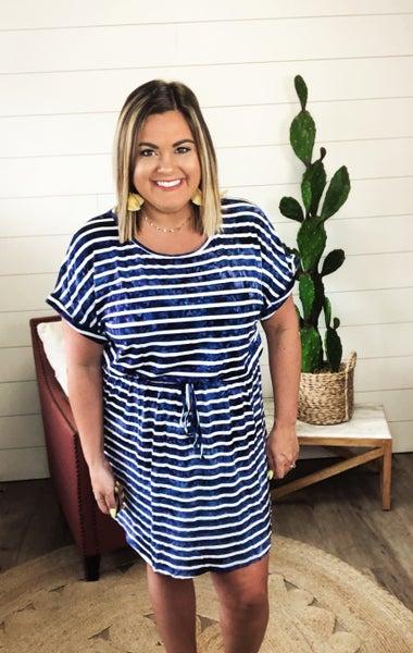 Sasha Striped Tie Dye Dress