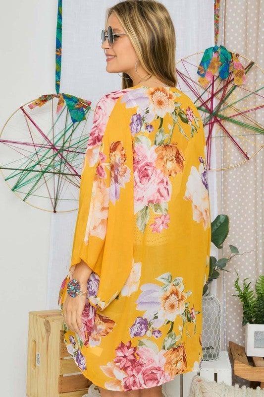 Field Of Flowers Kimono - Mustard