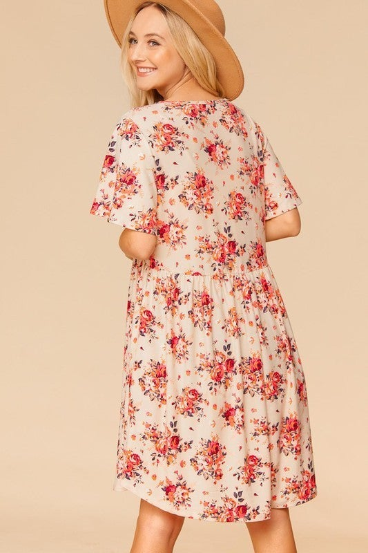 PLUS/REG Growing Stronger Dress - Taupe/Coral