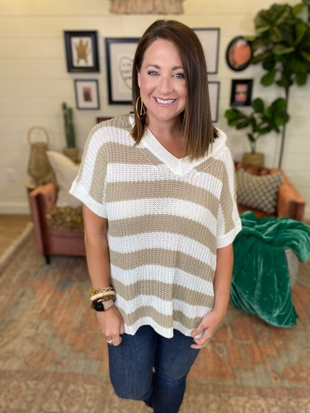 Easy Breezy Short Sleeve Sweater Top - Taupe
