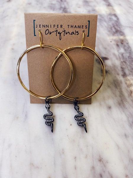 Jennifer Thames Gunmetal Snake Earrings