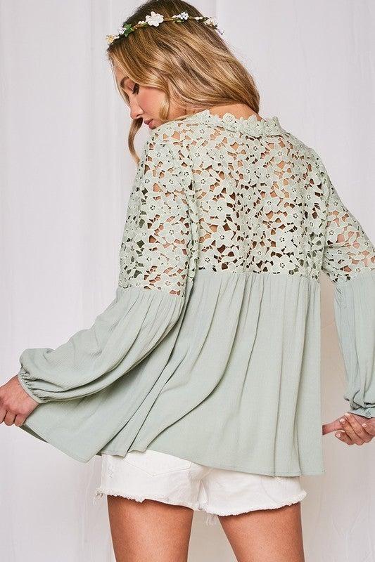 Spring Flowers Crochet Top - Sage
