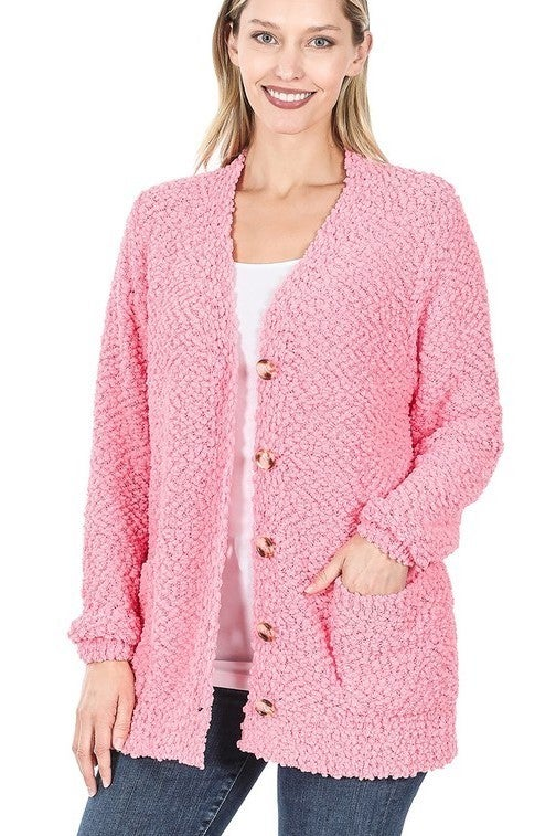 Reg/Plus Jumping Into Comfort Cardigan - Bright Pink