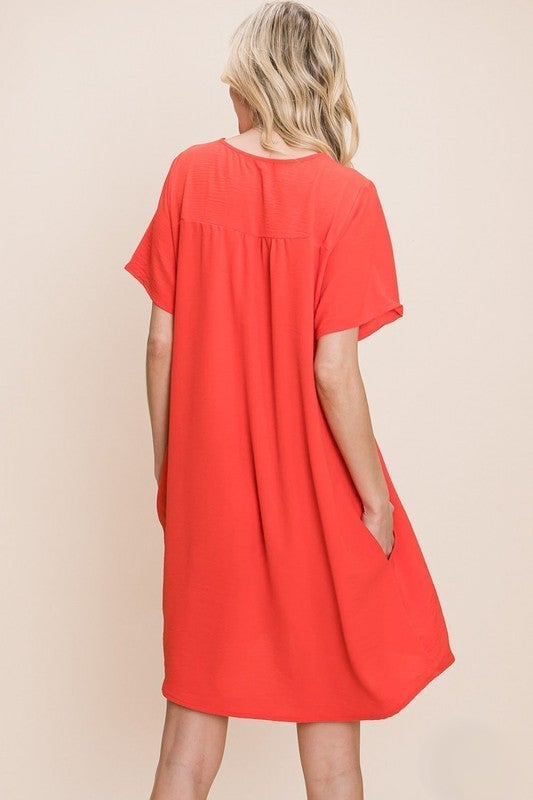 Living For Love Dress - Hot Coral