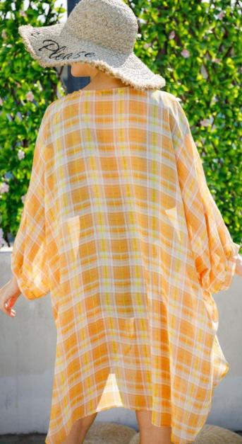 Reg/Plus Whispered Shadows Kimono - Yellow