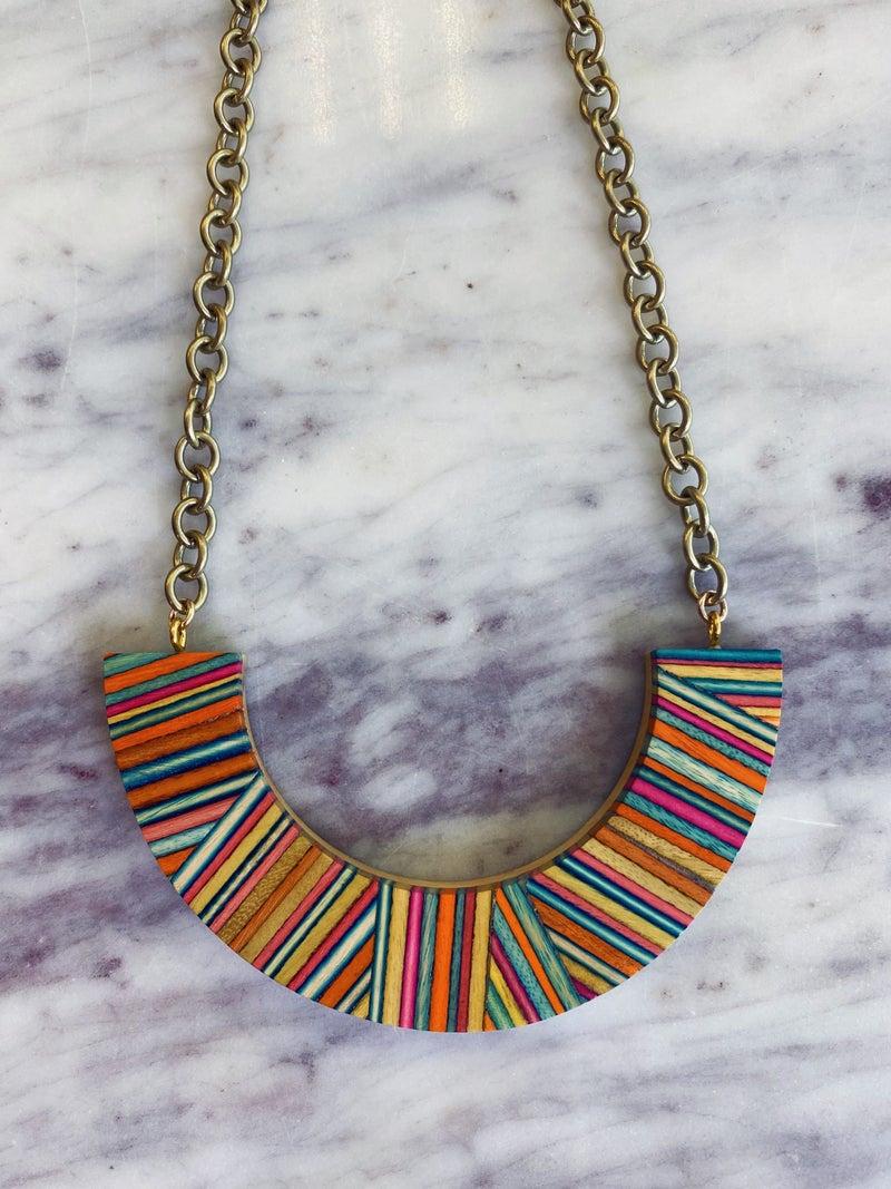 Love, Poppy Rainbow Crescent Necklace