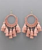 Circle Raffia and Tassel Earrings - Blush