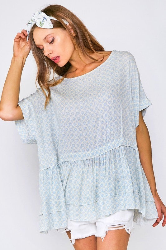 Spring is Here Geometric Top - Blue