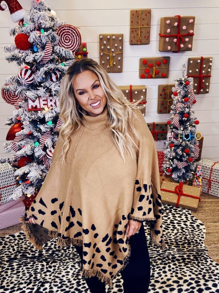 Come Away With Me Leopard Poncho