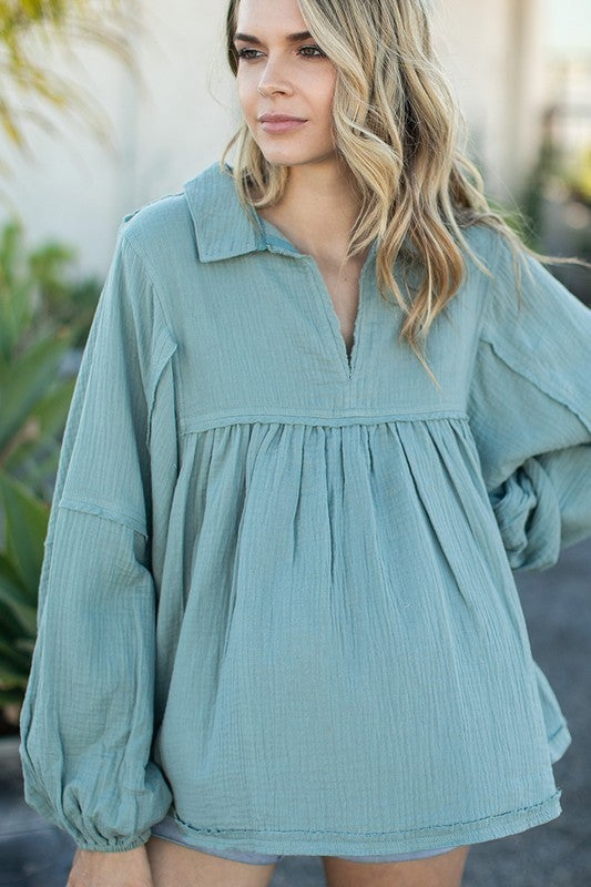 Lucky in Love Babydoll Top - Sage