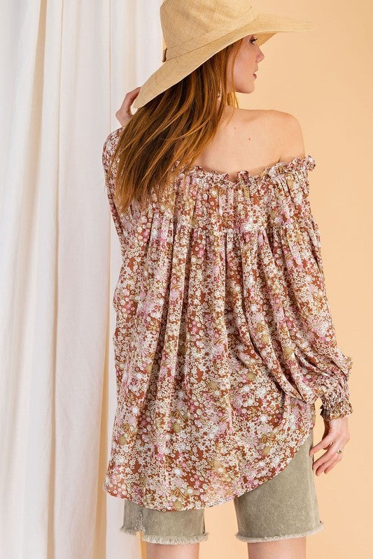 Can't Stop the Spring Floral Top - Cappuccino