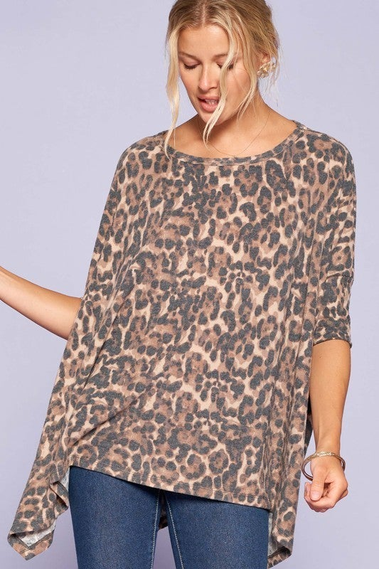 Reg/Plus Here Kitty Kitty Leopard Top - Brown
