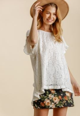 On My Mind Hi Lo Frayed Top - Off White