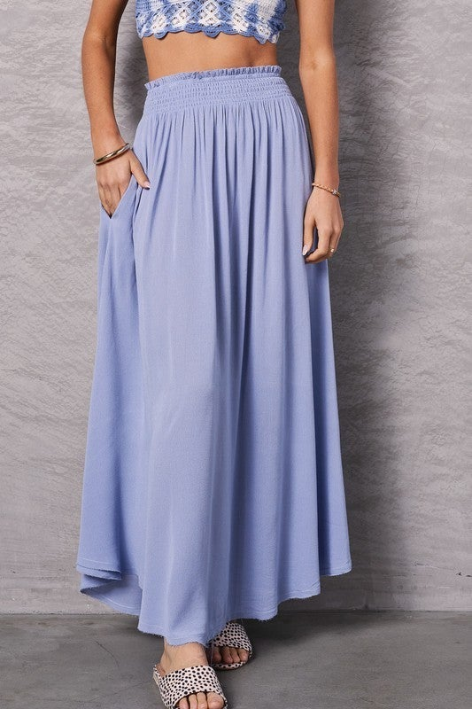 Wit And Charm Maxi Skirt - Blue