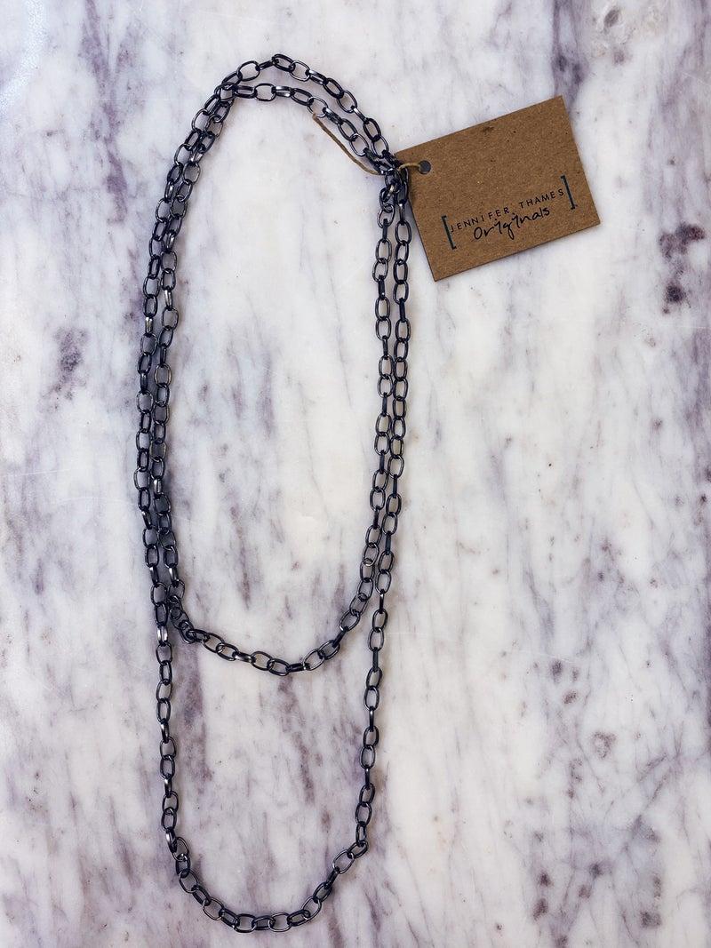 Jennifer Thames Gunmetal Layering Chain Necklace